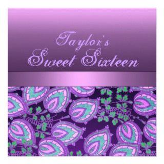Purple Flower Sweet 16 Birthday Invitation