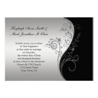 Invitación de la bodas de plata negra y del vintag de
