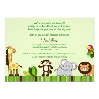 Jungle Animal Custom Baby Shower Invitations Boy