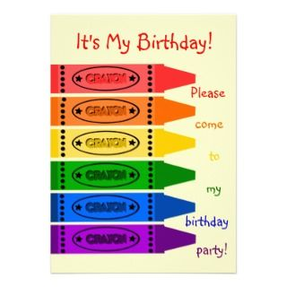 Rainbow Colors Crayons Birthday Party Invitation