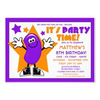 Purple Jelly Bean Birthday Party Personalized Announcements