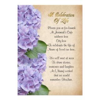 celebration of life invitation with hydrangea flowers invite family