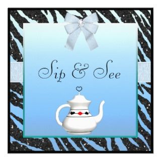 & See Zebra Print Blue & Black Baby Shower Personalized Invitations