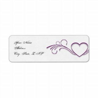 Purple Silver Heart Scroll Monogram Response Card Announcements
