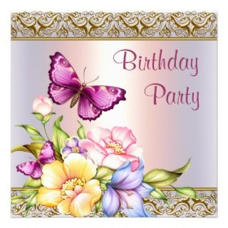 Pink Gold Flowers Butterfly Womans Birthday Party Invites
