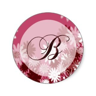 Whimsical Floral Wedding Monogram B Envelope Seal Sticker