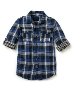 Joes Jeans Boys Blue Plaid Button Down Shirt   Sizes S XL
