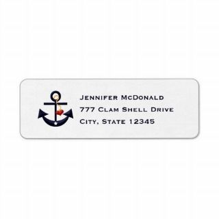 Boat Anchor Return Address Label (Red / White)