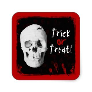Halloween Blood and Skull Trick or Treat Sticker