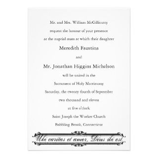 Ubi Caritas et Amor Catholic Wedding Invitation invitations by caritas