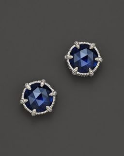 Judith Ripka Eclipse Stud Earrings with Lab Created Blue Corundum