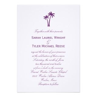 Palm Trees Wedding Invitation   Purple
