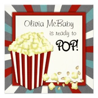 invitation this red popcorn baby shower invitation features a star