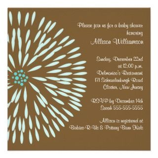 Blue Flower on Brown Boy Baby Shower Invitation