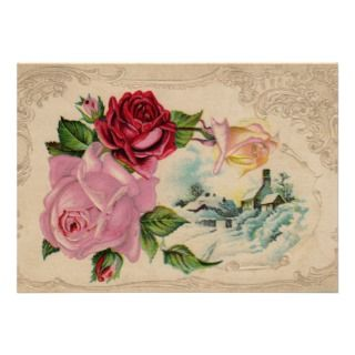 Victorian Winter Roses Invitation
