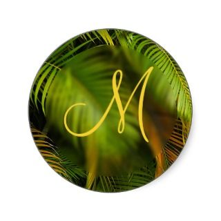 Tropical Wedding Monogram Envelope Seal Sticker