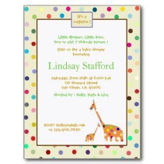 Polks Dots giraffes  baby shower invites(cream) Postcard