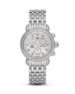 Michele CSX Day Diamond Embellished Stainless Steel Watch Head, 36mm