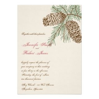 Pine Cone Nature on Cream Wedding Invitation