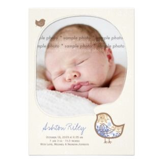 Blue Damask Chicks Baby Boy Birth Announcement