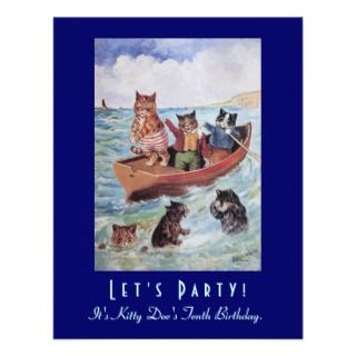 Louis Wains Swimming Cats Birthday Party Custom Invites