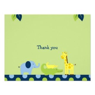 Bright Safari Jungle Animal Thank You Note Cards Personalized