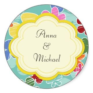 Wedding Retro Spring Flowers Red Green Blue Yellow Round Stickers