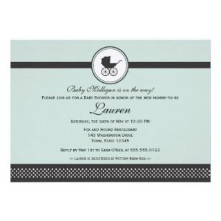 Baby Carriage Baby Shower Personalized Invitation