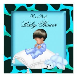 African American Baby Shower Boy Animal Print Custom Invites