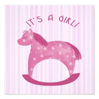 Pink Rocking Horse Baby Girl Birth Announcement