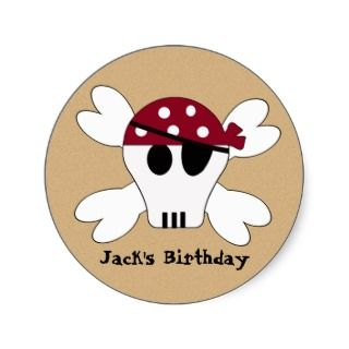 KRW Cute Pirate Skull and Crossbone Birthday Round Sticker