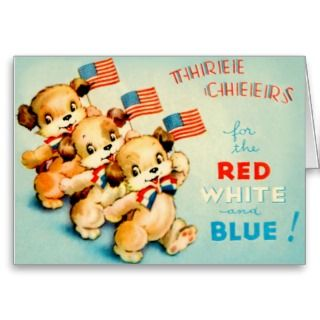 Patriotic Teddy Bears Three Cheers Red White Blue Greeting Card