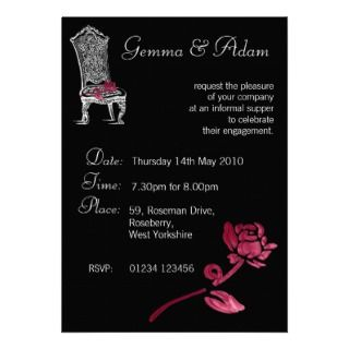 antique chair rose invitation ideal for engagement party invitations