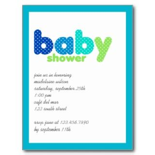 Blue & Green • Baby Shower Invitation Postcards