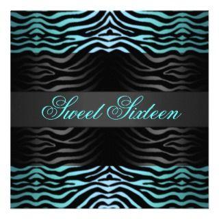 Sweet 16 Zebra Print Blue Birthday Invitation