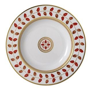 Bernardaud Constance Red Rimmed Soup Bowl