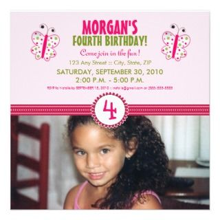 Satin Ribbon Butterfly Birthday Party Invite pink