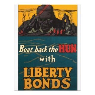 Liberty Bonds ~ Beat Back The Hun WWI Custom Invite