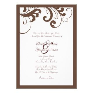 Brown and White Swirls Frame Wedding Invitation
