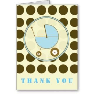 Brown Polka Dot / Blue Baby Carriage Thank You Cards