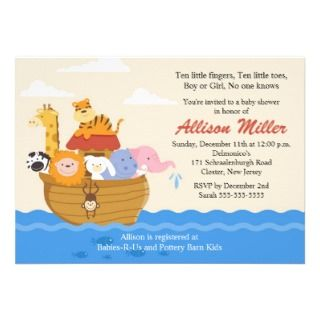 Noahs Ark Boy or Girl Baby Shower Personalized Invite