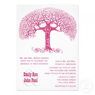 Pink Swirly Initials Carved in Tree Wedding Invite