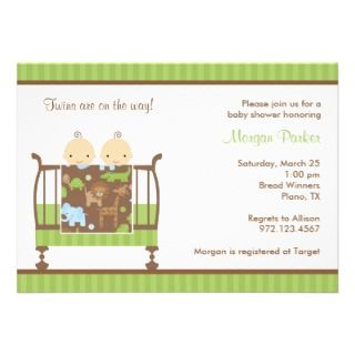Twins Giraffe Baby Shower Invitation Boy Girl