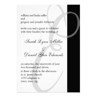 Wedding Invitations Black And White Monogram E