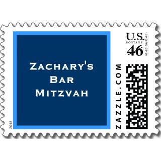 Bar Mitzvah Invitations Zachary Hebrew Navy Horiz