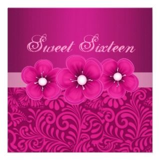Sweet 16 Pink Flower & Butterfly Birthday Invite