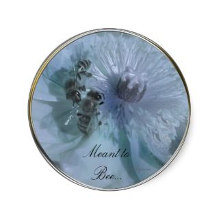 Blue Flowers Wedding Invitation Seals Round Sticker