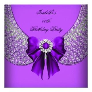 Purple Silver Elegant Birthday Party Invitations