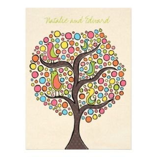 Bright Rainbow Bird Tree Custom Wedding Invitation