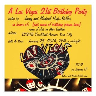 Vegas Casino Theme Twenty first Birthday Party Announcement